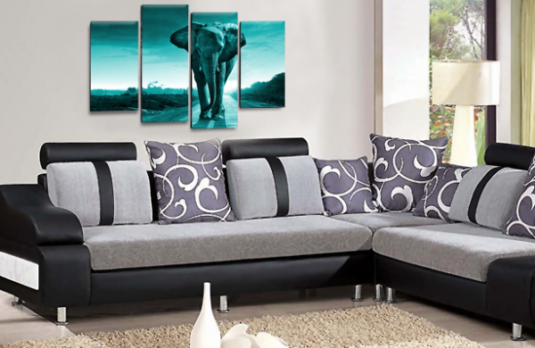 Sunset African Elephant Teal Grey Canvas Wall Art Picture Print